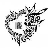 I love music concept, black and white design. — Stock Vector