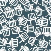 Shopping basket icons seamless background, supermarket shopping simplistic symbols vector collections made as seamless pattern. — Stok Vektör