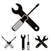 Repair icon set with wrenches and screwdrivers. — Stock Vector