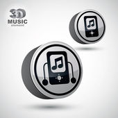 Mp3 player round icon isolated, 3d vector design element. — Stock Vector