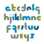Vector bright acrylic font, handwritten watercolor lowercase let — Stock Vector