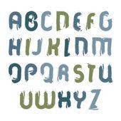 Vector acrylic font, handwritten watercolor capital letters isol — Stock Vector