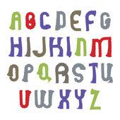 Vector wavy alphabet letters set, hand-drawn colorful script, br — Vetor de Stock