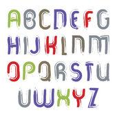 Vector alphabet letters set, hand-drawn colorful script, bright — Stock Vector