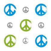 Set of hand drawn simple colorful vector peace icons, collection — Stockvector