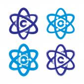 Collection of hand-painted simple vector molecule model icons is — ストックベクタ