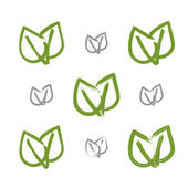 Set of hand-drawn simple vector green eco leaves icons, collecti — Vector de stock