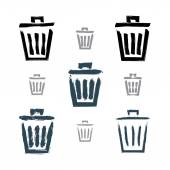 Set of hand-painted simple vector trash can icons isolated on wh — Stock Vector
