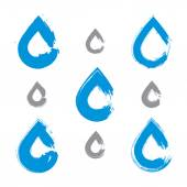 Set of hand-painted blue water drop icons isolated on white back — Stockvector