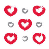 Set of hand-drawn red love heart icons, collection of loving hea — Stock Vector