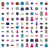 Clothes icon vector set, vector collection of fashion signs and symbols. — Stok Vektör