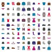 Clothes icon vector set, vector collection of fashion signs and symbols. — Stockvector