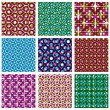 Set of colorful dotted seamless patterns, bright polka dot tiles — Stock Vector #55173019