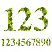 Numbers made with leaves, floral numerals set, vector illustrati — Stock Vector
