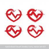 Set of hand-drawn stroke red heart icons, collection of brush dr — Stock Vector