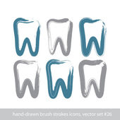 Set of stroke hand-drawn simple tooth icons, real ink brush draw — Vector de stock