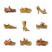 Vector collection of shoes, illustrated footwear.  — Stock Vector