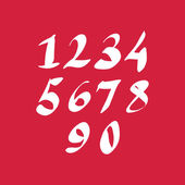 Hand written fresh vector numbers, stylish drawn numbers set. — Stock vektor