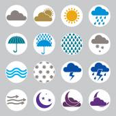 Weather icons vector set, simplistic symbols vector collections. — Stock Vector