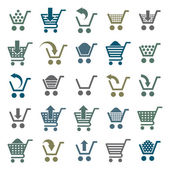 Shopping cart icons isolated on white background vector set, sup — Wektor stockowy