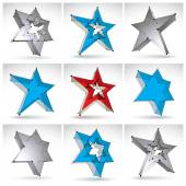 Set of 3d mesh stars isolated on white background, collection of — Stock vektor