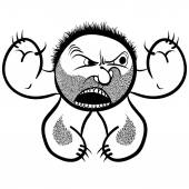Angry cartoon monster with stubble, black and white lines vector — Stock Vector