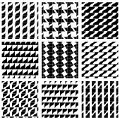 Set of grate seamless patterns with geometric figures, ornamenta — Vector de stock