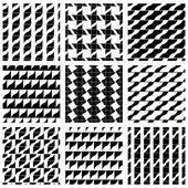Set of grate seamless patterns with geometric figures, ornamenta — 图库矢量图片