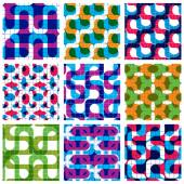 Set of multicolored grate seamless patterns with labyrinth and g — 图库矢量图片
