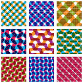 Set of multicolored grate seamless patterns with parallel ribbon — Wektor stockowy