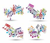 Bright vector jolly staves with musical notes on white backgroun — Stock Vector