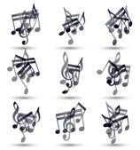 Black musical notes and symbols isolated on white background, ve — Vector de stock