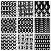 Set of grate seamless patterns with geometric figures, ornamenta — Cтоковый вектор
