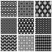 Set of grate seamless patterns with geometric figures, ornamenta — Stock vektor