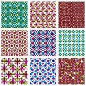 Set of multicolored grate seamless patterns with parallel ribbon — 图库矢量图片
