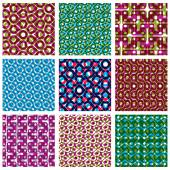 Set of colorful dotted seamless patterns, bright polka dot tiles — Stock Vector