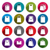 Shopping back icons vector set, shopping theme simplistic symbol — Stock Vector