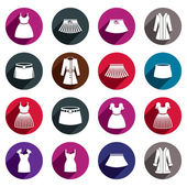 Dresses and skirts vector icon set. — Stock Vector
