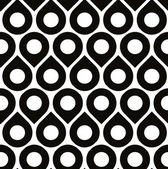 Black and white vector seamless pattern with droplets and polka — Cтоковый вектор