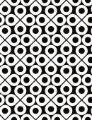 Black and white vector ornamental seamless pattern with drops an — Stock Vector