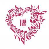 I love music concept, single color design. — Stock Vector