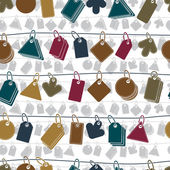 Sale tags on a rope seamless background, vector icon set, elemen — Vecteur
