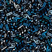 Vector colorful dotted music seamless pattern with musical notes — Stock Vector