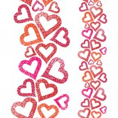 Hearts seamless pattern, vertical composition, Love theme seamle — Stock Vector