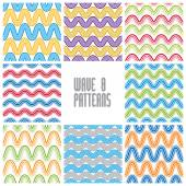 Waves seamless patterns set, colorful geometric vector backgroun — Stock Vector