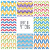 Waves seamless patterns set, colorful geometric vector backgroun — Stockvektor