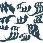 Arrows vector abstract symbol collection, single color conceptua — Stock Vector #55763343