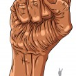 Clenched fist held high in protest hand sign, African ethnicity, — Stock Vector #55764039