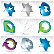 Set of 3d mesh colorful abstract objects isolated on white backg — Stock Vector #55764293