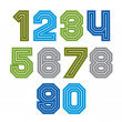 Colorful regular acute-angled digits, bright vector straight num — Stock Vector #55764597